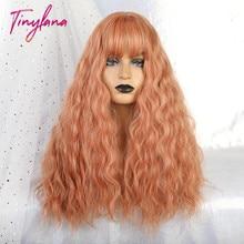 TINY LANA długa luźna fala peruki syntetyczne pomarańczowy różowy kolor z grzywką dla ameryki kobiety żaroodporne włókna Cosplay Lolita włosów