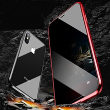UYFRATE Anti-Peeping Privacy Magnetic Adsorption Metal Full Tempered Glass Case For iPhone XS Max 11 Pro Max XR XS X 8 7 6 Plus uyfrate anti peeping privacy magnetic adsorption metal full tempered glass case for iphone xs max 11 pro max xr xs x 8 7 6 plus