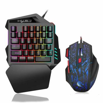 Ergonomic Mechanical Keyboard Mouse LED Combo Colorful Backlight One-Handed Wired Gaming Keyboards 5500DPI PC Gamer Set 1