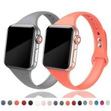 Correa fina para Apple watch, banda deportiva de silicona suave de 44MM, 40MM, 38MM y 42MM, pulsera de reloj, serie iwatch 6 se 5 4 3