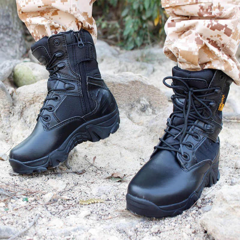 Inverno degli uomini di Scarpe Militari Deserto Tattico di Combattimento Caviglia Barche Army Scarponi Da Neve In Pelle Scarpe Da Lavoro Più Il formato 39-47 stivali stivali da uomo