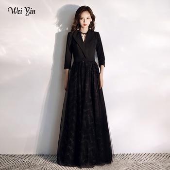 wei yin AE0198 Black Sexy Long Evening Dresse A-Line  V-Neck Tulle Formal Evening Gowns Vestidos Largos Fiesta