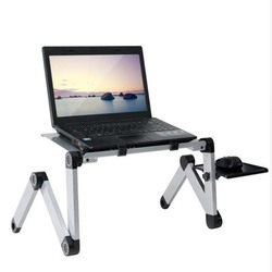 Portátil ajustable de aluminio portátil escritorio soporte de mesa ventilado ergonómico TV cama Lap Stand Up Oficina PC Riser cama sofá