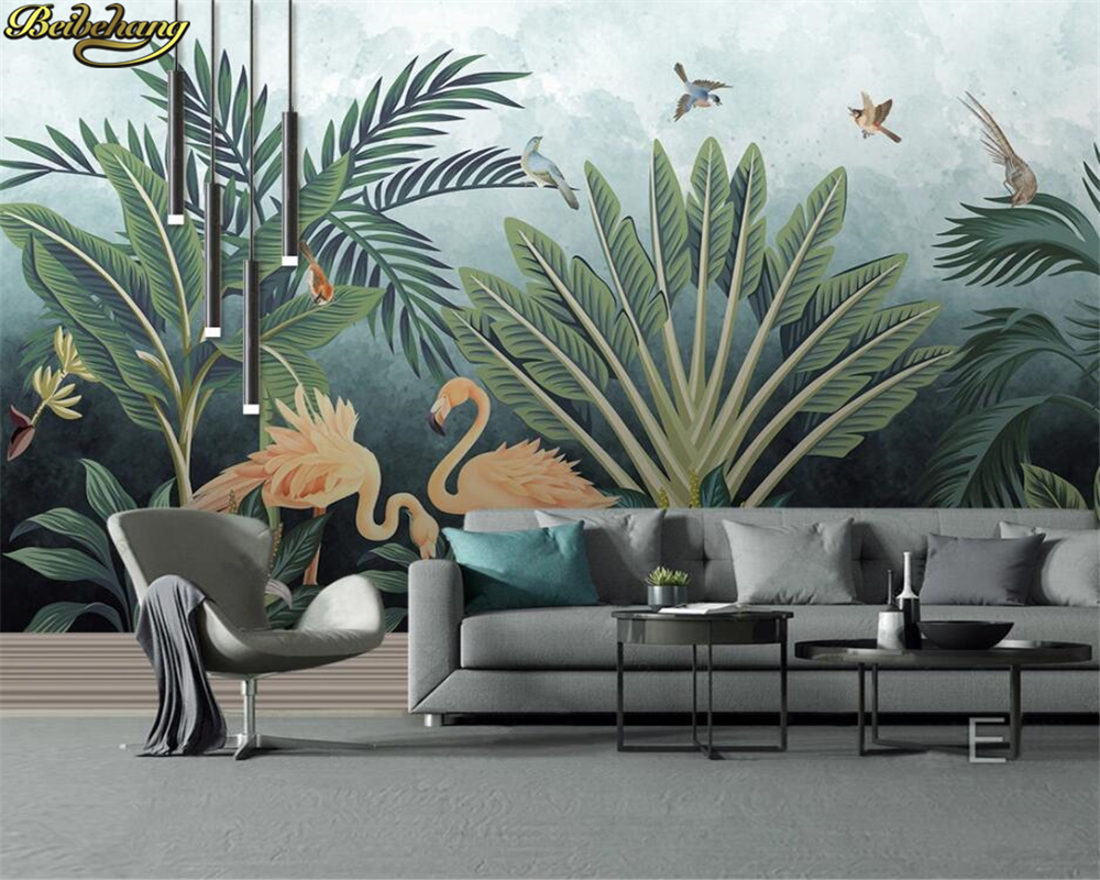 Beibehang Custom 3d Wallpaper Mural Medieval Hand Painted Tropical Rain Forest Flamingo HD Background Wall Decoration Painting