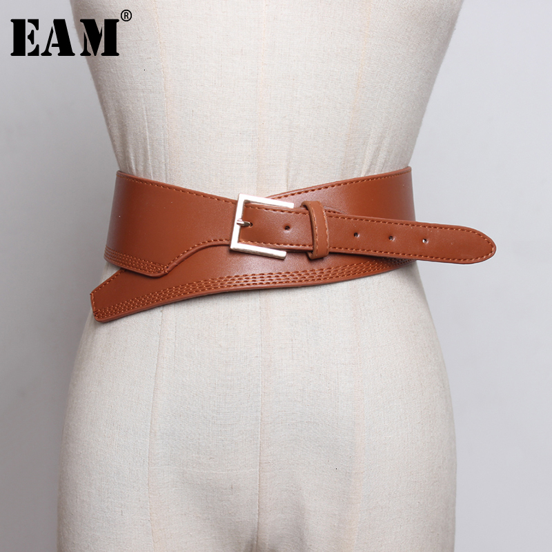 [EAM]  Pu Leather Asymmetrical Black Long Wide Belt Personality Women New Fashion Tide All-match Spring Autumn 2020 1H612