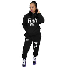 Women Fitness Tracksuit Pants-Set Jogger Elastic Two-2piece-Set Hoodies Outfit Pink Letter