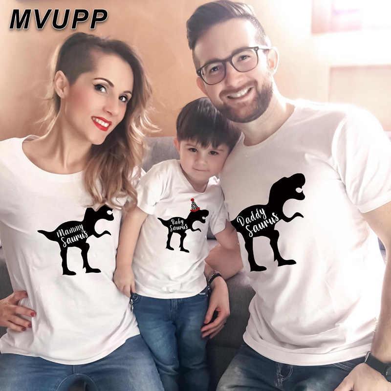 Keluarga Pencocokan Pakaian Ayah Anak Ibu Ayah Ibu Anak Pakaian Bayi Dinosaurus Kartun Fashion Pakaian T-shirt Print Set