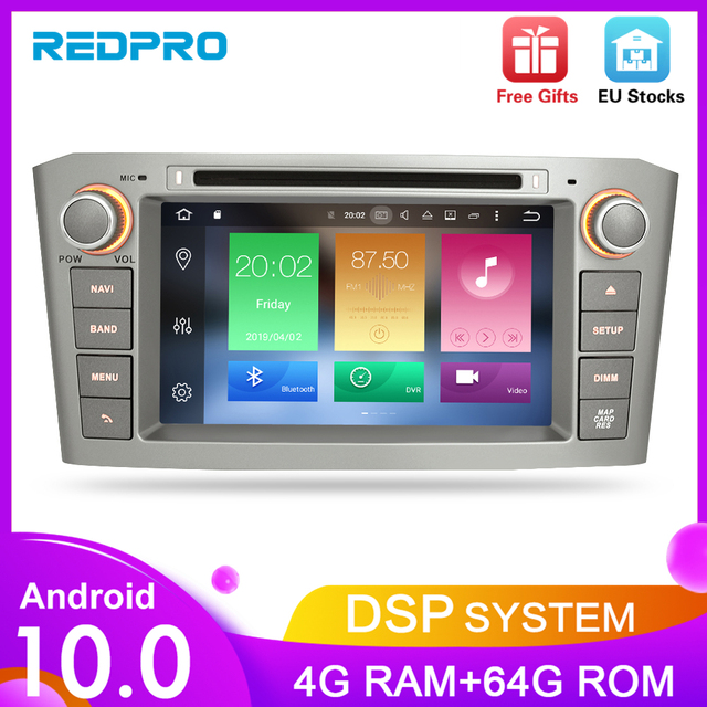 Android10.0 9.0 Car Stereo For Toyota Avensis/T25 2003 2008 Car DVD Player 2 Din  PC Head 4G RAM Multimedia Video GPS Navigation
