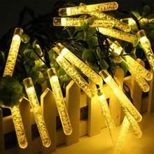 Led de energia solar icicles bolha de ar luzes de fadas natal corda ao ar livre à prova dwaterproof água jardim festão guirlanda festa decoração