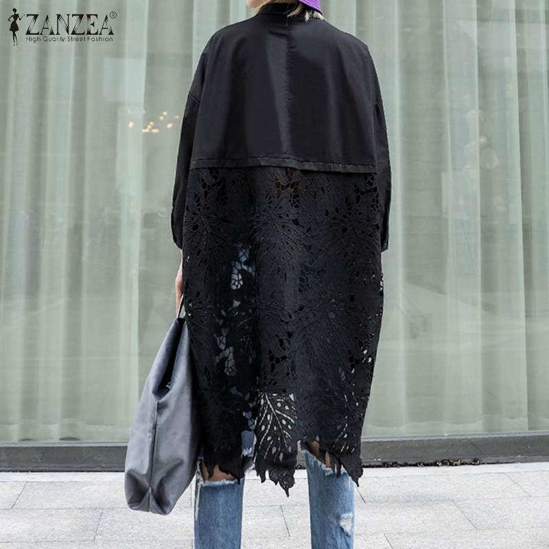Closeout DealsZANZEA Crochet Shirt Blouse Loose Long-Tops Lace Patchwork Chemise-7 Neck Hollow-Out