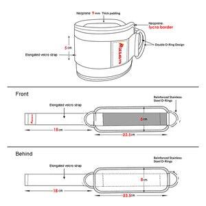 Image 4 - ROEGADYN כפול D טבעת מתכוונן 2PCS כושר קרסול משמר רצועת רגל כושר אימון הרמת ירך כבל רגל החגורה עם חבל תיק