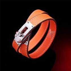 Высокое качество, шикарные браслеты, Классический Браслет H, ремень с пряжкой, браслет из натуральной кожи, перекрещивающийся ремень, многос...