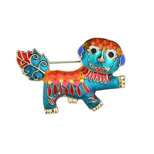 Gariton Red Sky Blue Cute Dog Brooches For Women Fashion Metal Crystal Enamel Animal Brooch Jewelry
