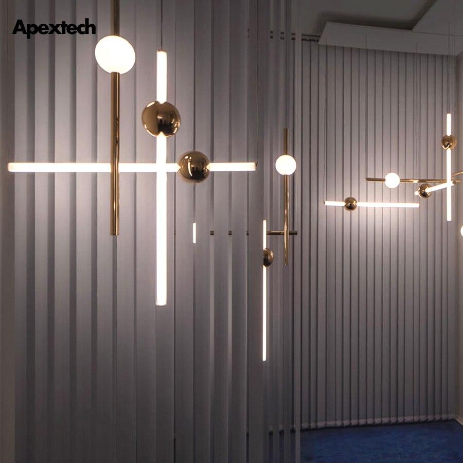 Conception originale lumière LED barre pendentif lumières verre boule Tube doré métal linéaire suspension lampe salle à manger Restaurant barre luminaire
