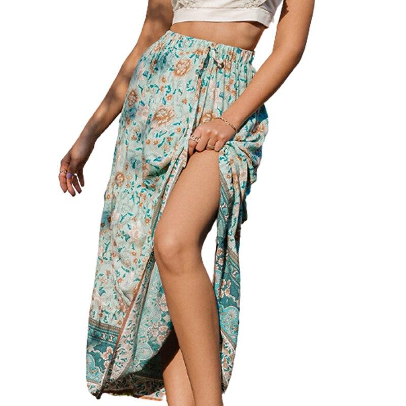 Bohemian New Print Woman Skirts Casual Printed Holiday Long Skirt 6