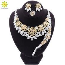 Nowe zestawy biżuterii dla nowożeńców dubaj dla kobiet złoty naszyjnik kolczyki bransoletka pierścień moda urok afryki ślub Nigeria zestawy biżuterii