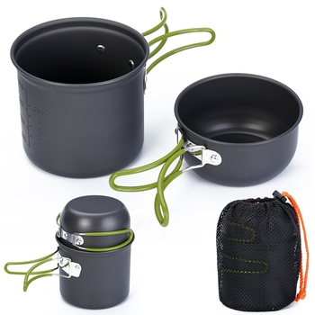 Outdoor Camping Cookware Nonstick Cooker Lightweight Pot Pans With Mesh Bag Set For Backpacking Hiking Picnic Utensil Tableware naturehike outdoor ultralight tableware sets camping hiking cookware tableware picnic backpacking cooking bowl pot pan cooker