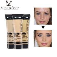 MISS ROSE Professional Face Liquid Foundation Concealer Soft Matte Face Base Makeup Cosmetic Natural Brighten Foundation Cream