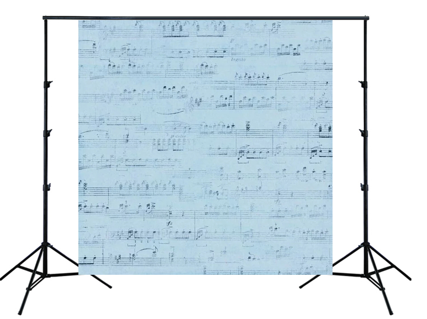 blue Musical notes Pattern Sheet music Backdrop birthday party wall decor Photo background for kids portrait studio props SM-420 image