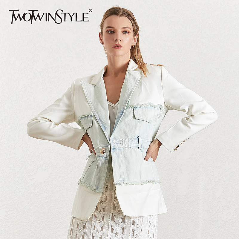 TWOTWINSTYLE Denim Patchwork Hollow Out Women's Blazer Notched Collar Long Sleeve Tunic Female Jacket 2020 Fashion Autumn New