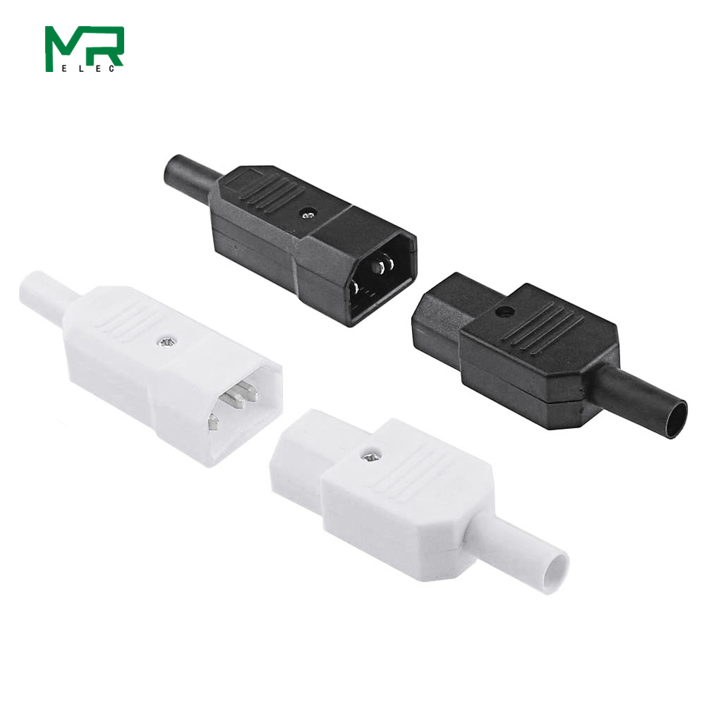 IEC 10A 250V  Straight Cable Plug Connector Rewireable C13 C14 Plug Rewirable Power Connector 3 Pin AC Socket