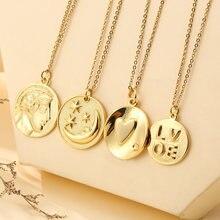 Corrente de aço inoxidável do vintage cobre banhado a ouro cabeça humana estrela lua amor pingente colar para feminino charme jóias femininas