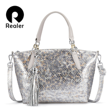 REALER genuine leather bag women bag fashion serpentine prin