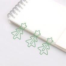 20 unidades/pacote bonito forma de árvore bookmark papel clipe escola escritório fornecimento metal verde natal presente papelaria