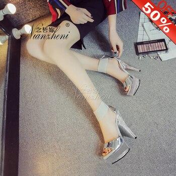 15cm Pole Dancing Stiletto Heels 6 Inch High-Heeled Shoes Formal Dress Rhinestone Shoes Fashion Sexy Clubbing Women Sandals