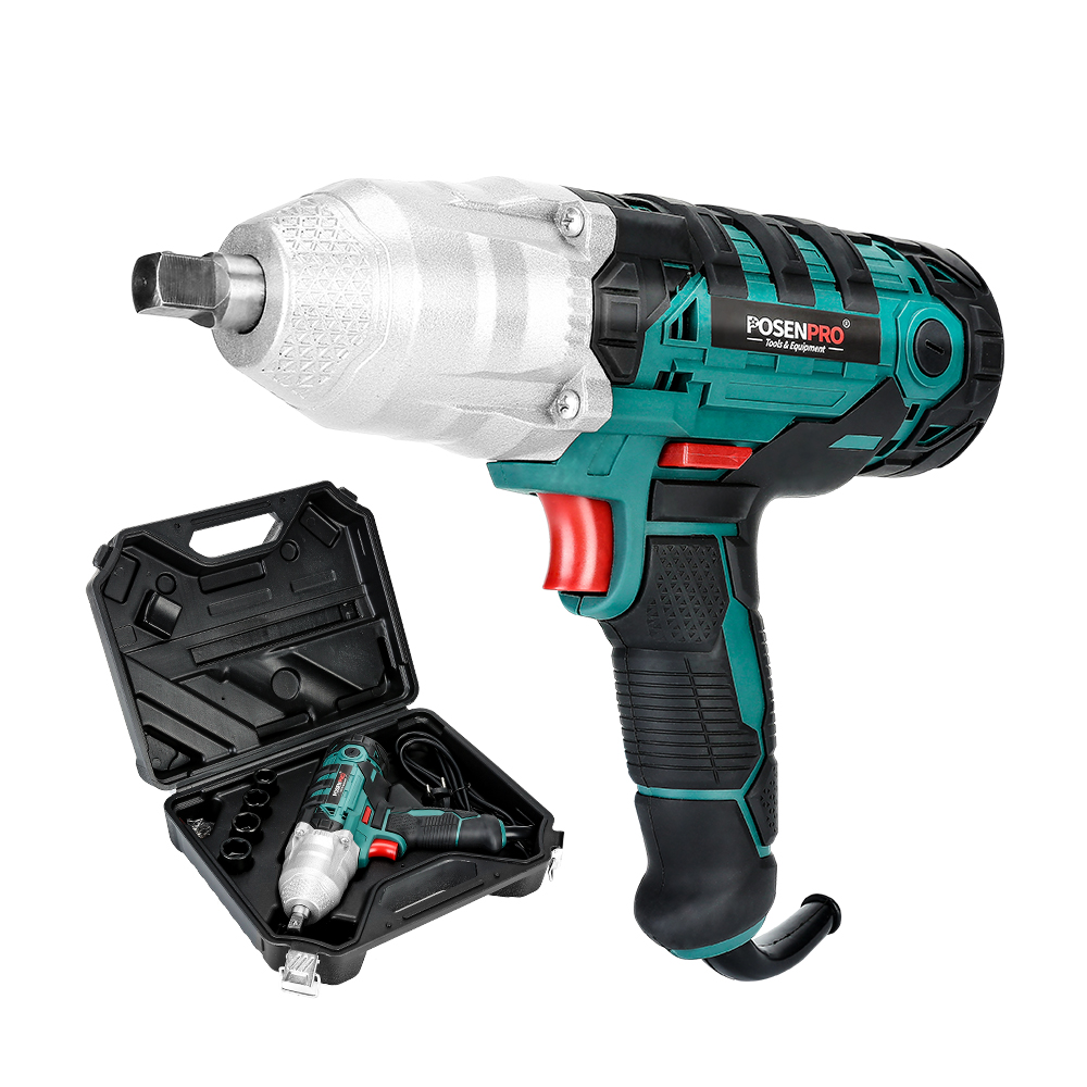 Electric Impact Wrench 450W 320Nm Max Torque 1/2 Inch 2M Rubber Cable Car Socket Wrenches BMC Box AC Power Car Repair Tool