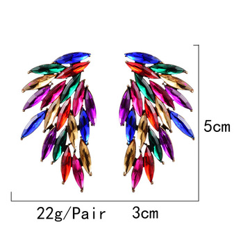 Wing-Shaped Hollowed-out  Colorful Crystals Drop Earrings  6