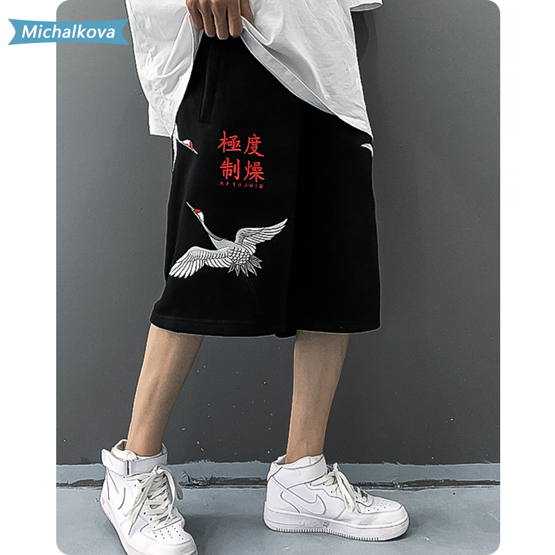 Chinese elements Crane embroidery Harajuku Shorts Mens Character Casual Fashion Summer Hip Hop Baggy Streetwear Male Joggers