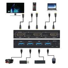 2-Порты и разъёмы для разъема HDMI USB KVM 4K HDMI переключатель сплиттер для совместного использования мониторная клавиатура и Мышь адаптивной EDID / ...