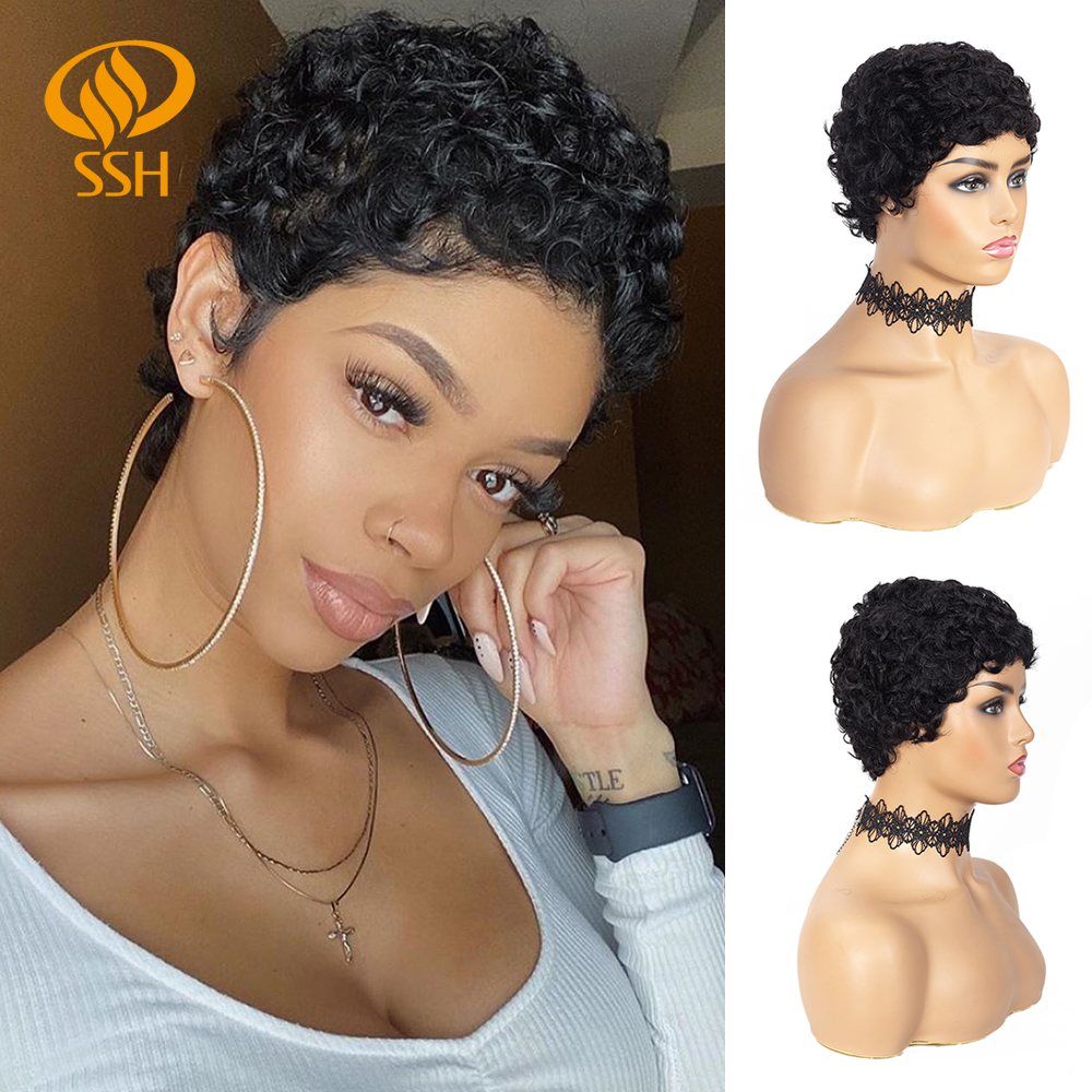 SSH Spiral Curly Human Hair Wigs Bob Wig For Black Women Brazilian Remy Hair Wig For African American Human Hair Wigs