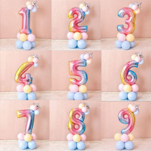 32 Inch Colorful Aluminium Foil Digital Balloons Party Supplies Kit for Kids Birthday Wedding Celebration Decoration