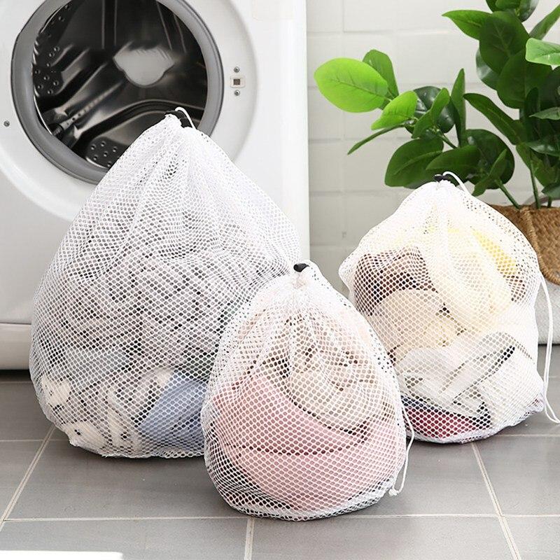 Большие мешки для стирки, прочный мешок для стирки из мелкой сетки с закрываемым шнурком для большой одежды