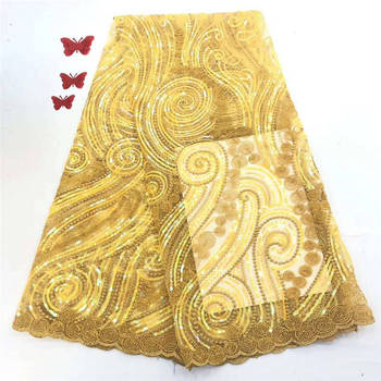 Nobby style African Lace Fabrics Multicolor Nigerian Laces Fabric with Sequins for party dress A679-1