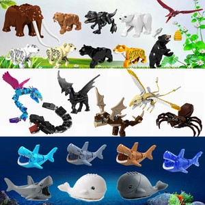 Compatible for Locking Animals Dinosaurs Tiger Bear Shark Spider Whale Figures Model Building Blocks Toys For Children Animals(China)