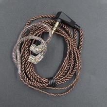 Провод, кабель для наушников, предназначенный для обновления аудио, практичный, 0,75 мм, 2 штифта, L разъем, аксессуары, медный звук, прочное покрытие для KZ ZS5 6