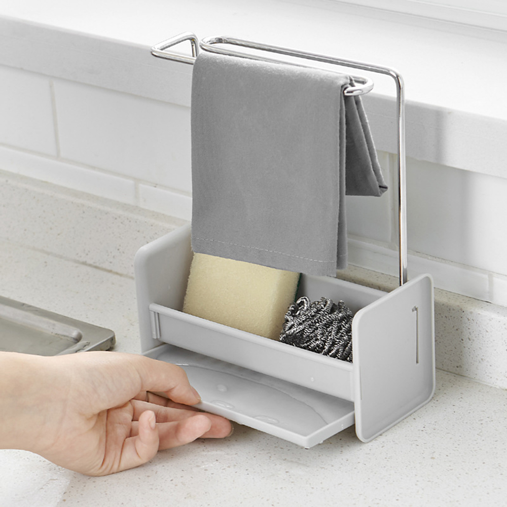 Kitchen Storage Rack Over Sink Caddy Sponge Holder Dish Cloth Hanger with Draining Tray Kitchen Sink Storage Organizer