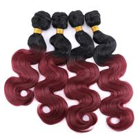 Anige 12 20 Inch 3pieces/lot black to burgundy Synthetic Hair Extensions ombre color Body Wave Hair Bundles