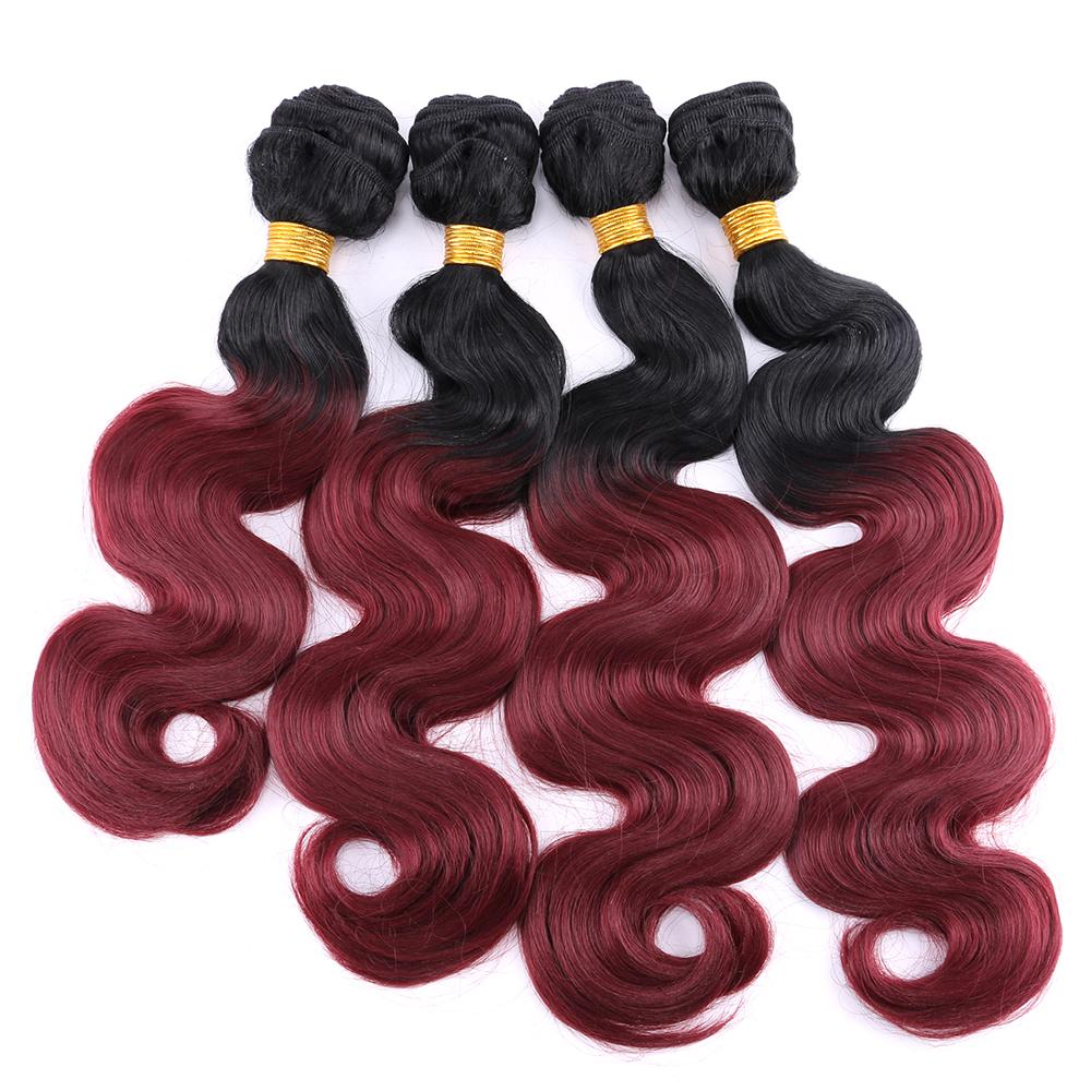 Anige 12-20 Inch 3pieces/lot black to burgundy Synthetic Hair Extensions ombre color Body Wave Hair Bundles