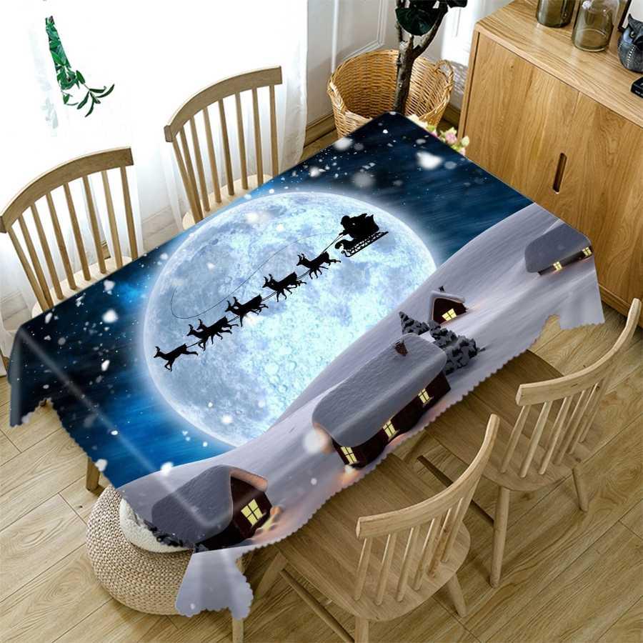 Home Christmas PARTY ตกแต่งผ้าปูโต๊ะสีฟ้าคริสตัลต้นคริสต์มาสรูปแบบผ้าฝ้ายรอบสี่เหลี่ยมผืนผ้า 3D ตารางผ้า