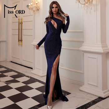Missord Autumn Women Sexy Off the Shoulder Cut-out Split Party Dress Long Sleeve Bodycon Dress Elegant Prom Maxi Dress M0543-1 missord 2020 sexy off the shoulder sequin party dress women high split maxi dress long sleeve party bodycon dress vestidos m0806