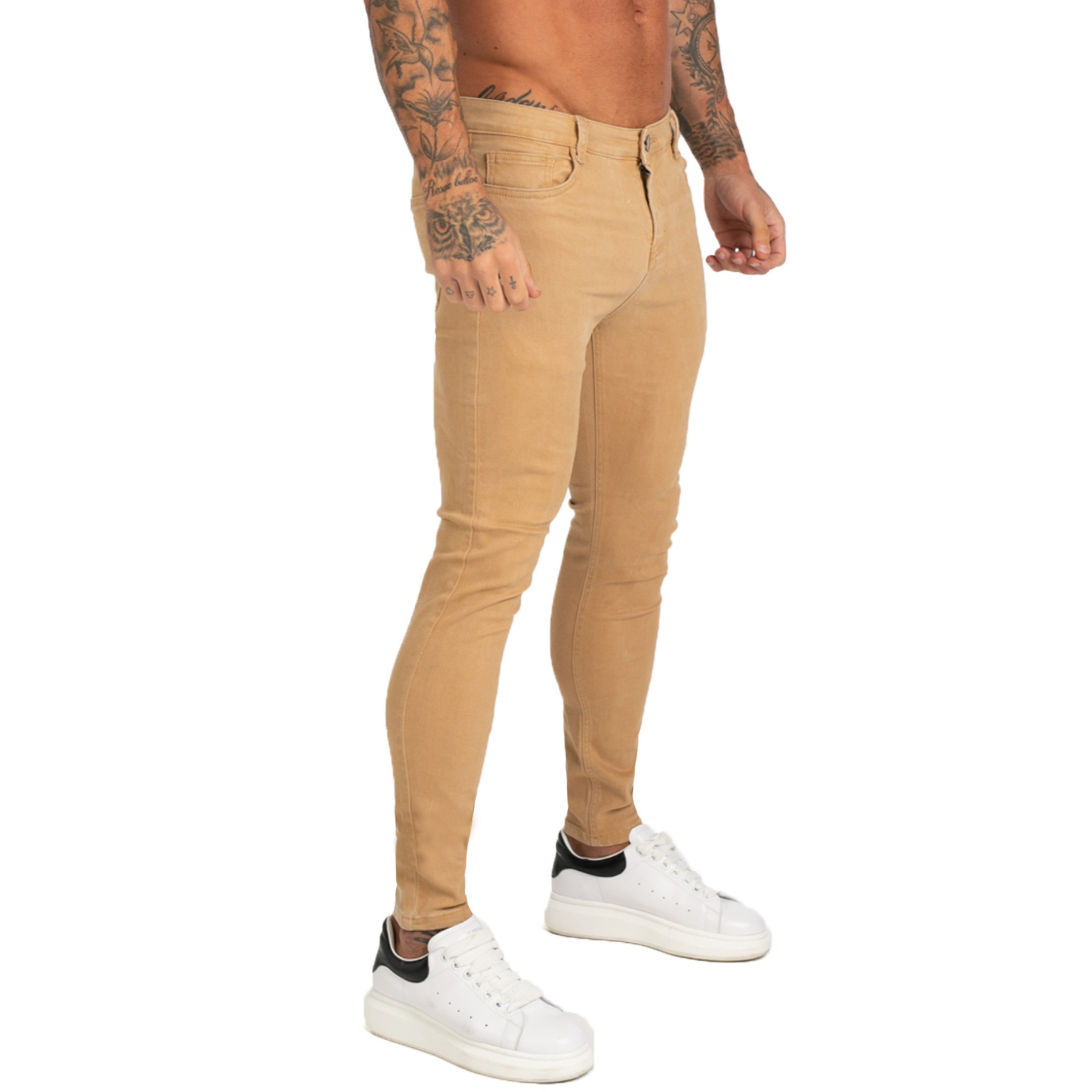 GINGTTO Mens Clothing Jeans Homme Pants Super Skinny Fit Mens Jeans Elastic Waist Bestting For Athletic Body Hip Hop Zm176