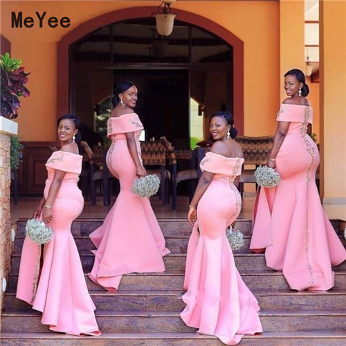 Africa Mermaid Bridesmaids Dresses Plus Size Off Shoulder Silver Appliques 2020 Maid of honor Wedding Guest Party Gowns Long