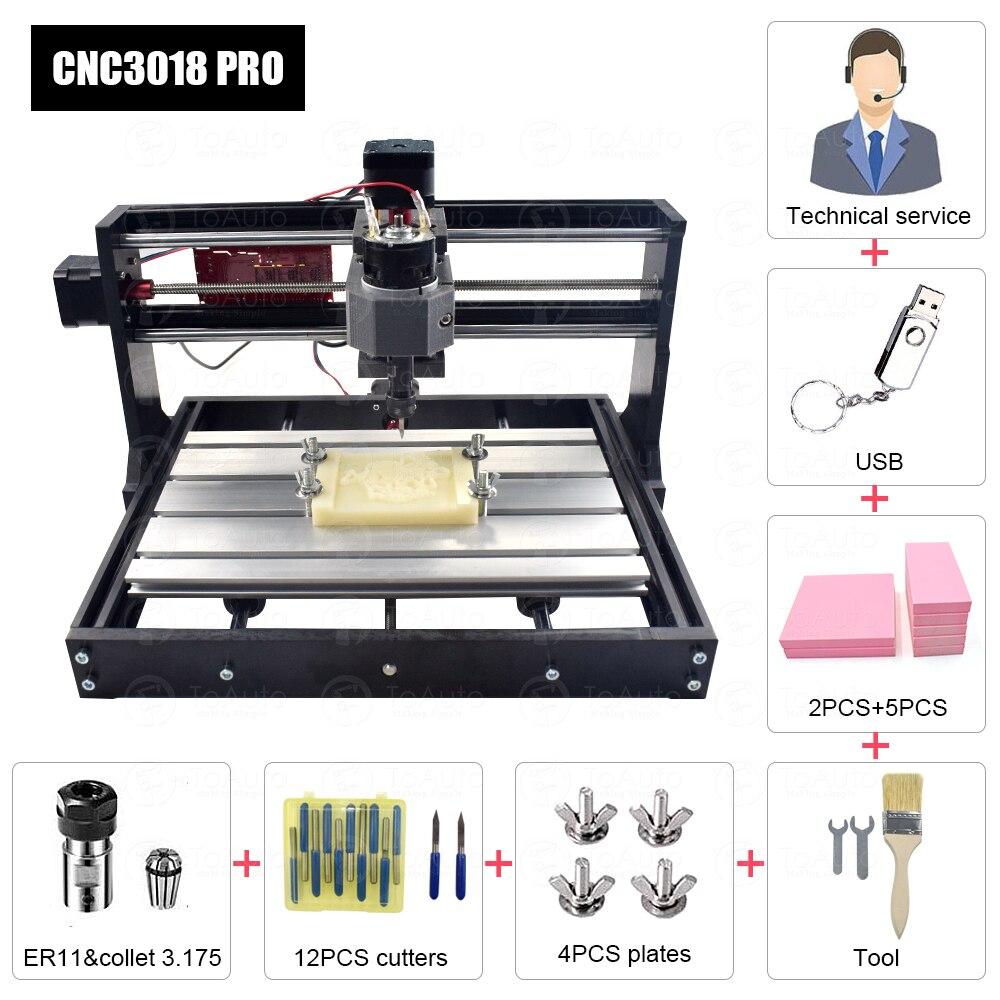 GRBL contrôle CNC3018 pro 110-240VAC Machine de gravure/Machine de gravure Laser 300*180*40mm pour plastiques/bois/acrylique/PVC/PCB