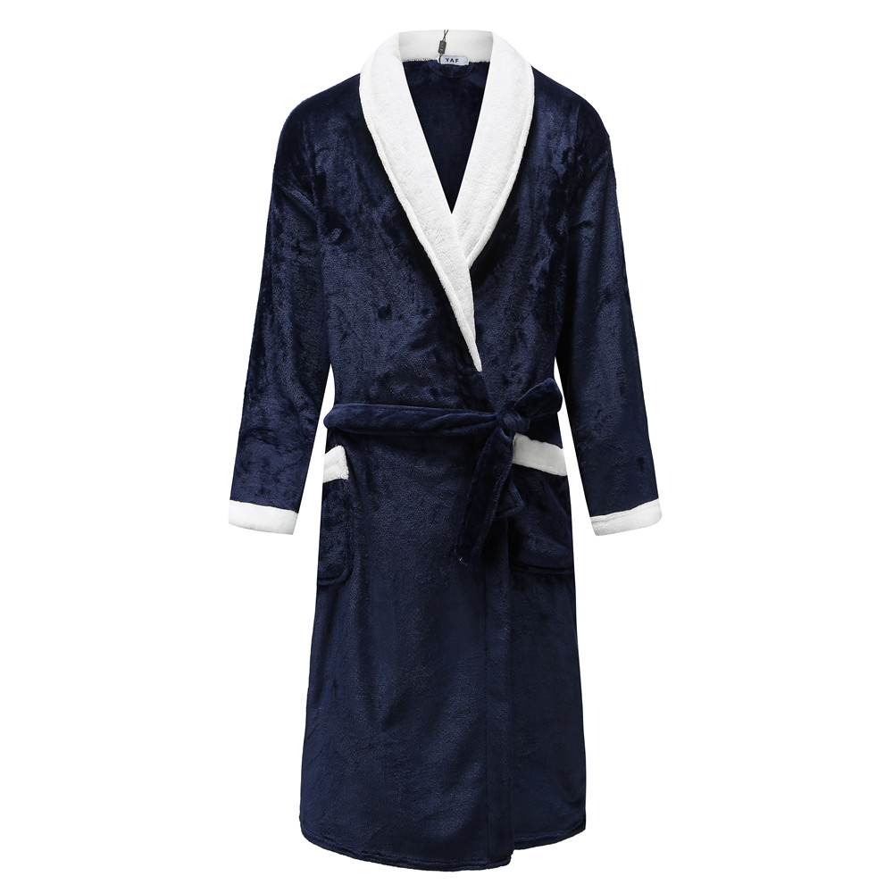 Men Belt Pyjamas Kimono Bathrobe Gown Warm Couple Home Wear Flannel Winter Nightdress Navy Blue Coral Fleece Sleepwear Negligee