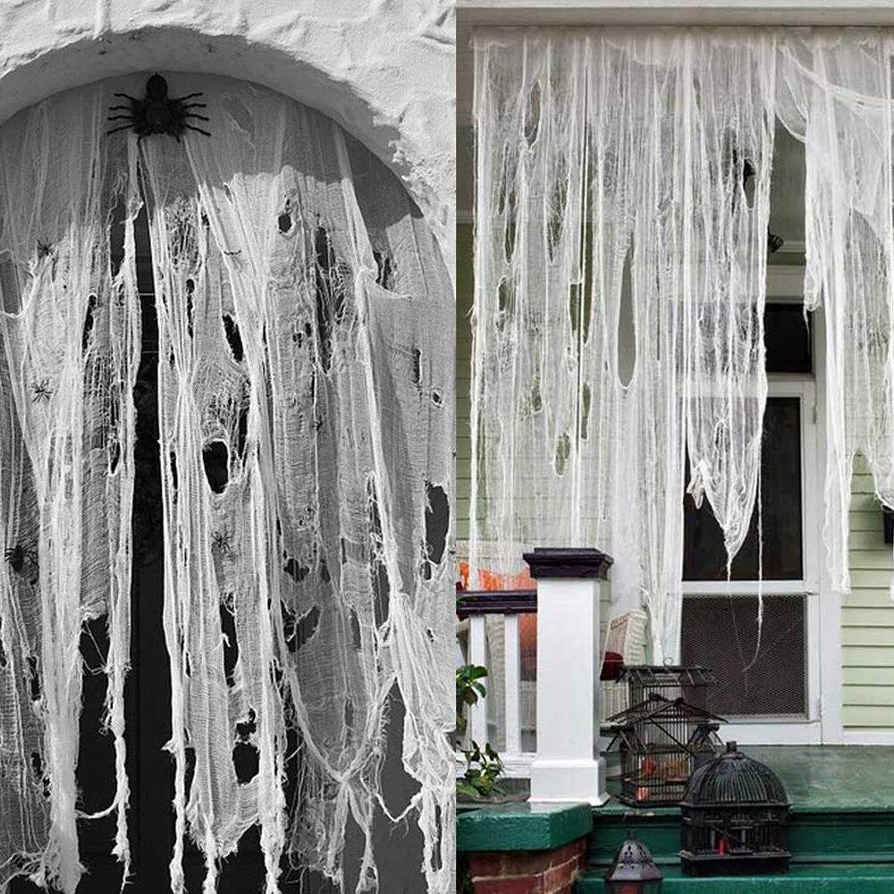 Halloween gaza dekoracji Super-rozmiar przerażające tkaniny szary czarny biały zaopatrzenie firm czarne wędkarstwo siatki dekoracji Halloween gaza