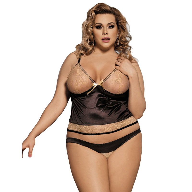 Women <font><b>Sexy</b></font> Lingerie <font><b>Hot</b></font> Big Size Brown Baby Doll With <font><b>Dress</b></font>+Panty Newly Lingerie <font><b>Sexy</b></font> <font><b>Hot</b></font> Erotic Short Erotic Costume R80350 image